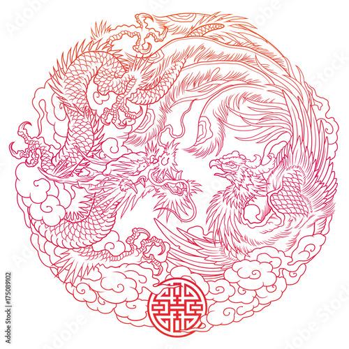 oriental dragon and phoenix outline Fotobehang