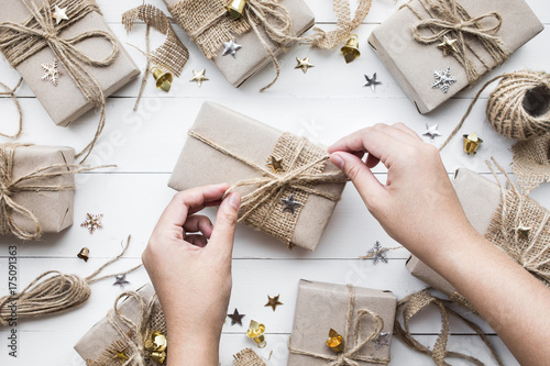 Female Decorating Christmas Presents Gift Boxcollection In Vintage