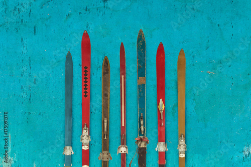collection-of-vintage-wooden-weathered-ski-s