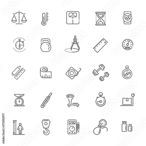 Fotografía  Measuring related web icon set - outline icon set, vector, thin line icons colle