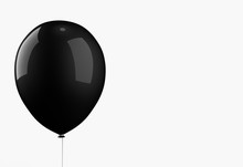 3d Rendering. A Big Black Balloon Isolated On White Background With Clipping Path. Horror Halloween Object Concept
