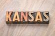 Kansas word abstract in letterpress wood type