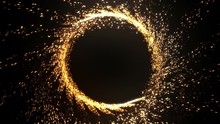 Sparks Flying In All Directions Running Around In A Circle. Seamless Video