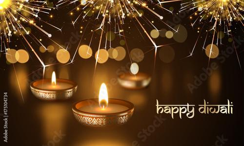 Happy diwali indian deepavali hindu festival of lights holiday happy diwali indian deepavali hindu festival of lights holiday greeting card template vector gold candle m4hsunfo
