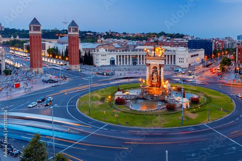 Obraz na dibondzie (fotoboard) Barcelona. Plac Hiszpanii o zachodzie słońca.