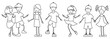 Samlung von verschiedene Kindern im schwarz und wieß