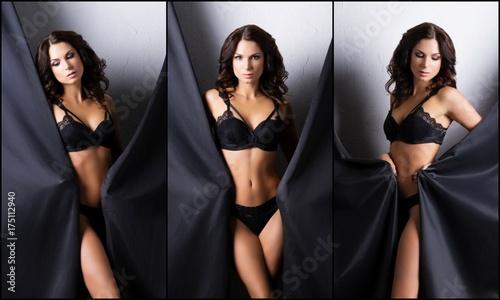 Plakat Set piękny model pozuje w czarnej bieliźnie w zasłonach. Pojęcie piękna i mody.