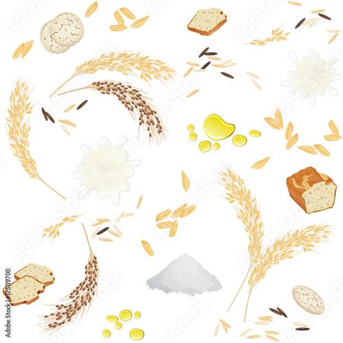 jednolity-wzor-z-ryzem-spozywczym-sa-uszy-ryzu-maka-ziarna-mleko-olej-chleb-i-gofry