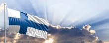 Finland Flag On Blue Sky. 3d I...