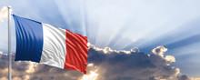 France Flag On Blue Sky. 3d Il...