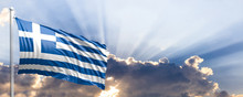 Greece Flag On Blue Sky. 3d Il...