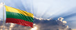 canvas print picture Lithuania flag on blue sky. 3d illustration
