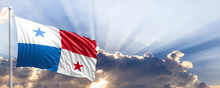 Panama Flag On Blue Sky. 3d Illustration