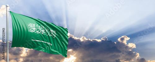 Photo Saudi Arabia flag on blue sky. 3d illustration