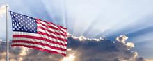 United States Flag On Blue Sky. 3d Illustration