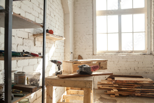 Joinery Interior With Tools And Supplies Woodwork Machines Equipment Instruments On Workbench