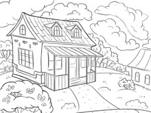 Coloring Page. Landscape House In The Summer