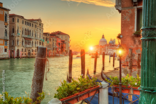Poster Beautiful sunrise in Grand canal with Church of Santa Maria, Venice