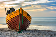 Fishing Boat On The Sea Shore,...