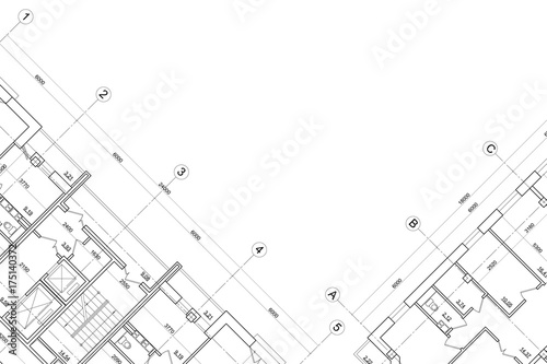Fotografie, Obraz  Background of architectural drawing