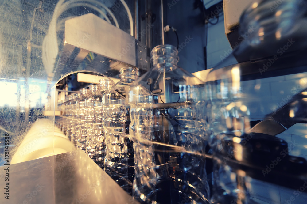 Fototapety, obrazy: Sunflower oil production plant. Bottling line of vegetable oil in bottles