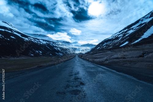 Moonlit road in Sudureyri, Westfjords, Iceland Fototapeta