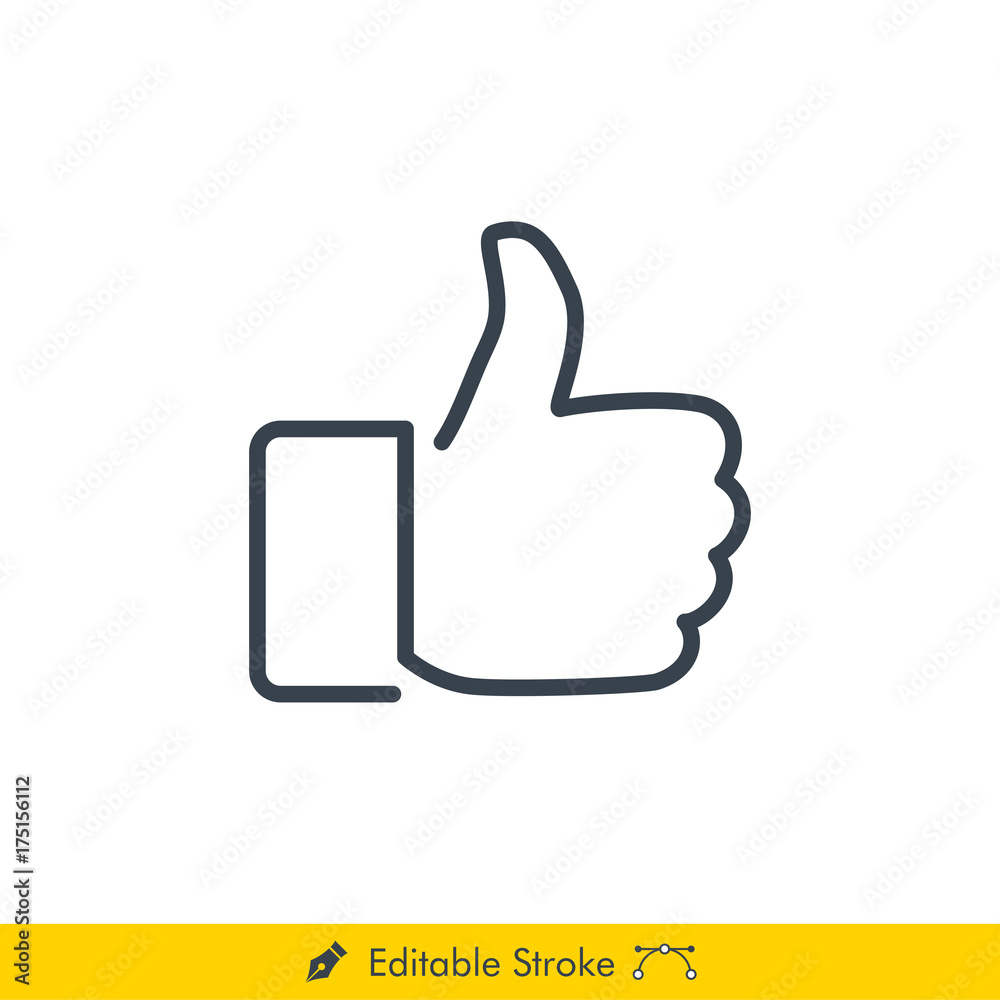 Fototapety, obrazy: Thumb Up (Like) Icon / Vector - In Line / Stroke Design with Editable Stroke