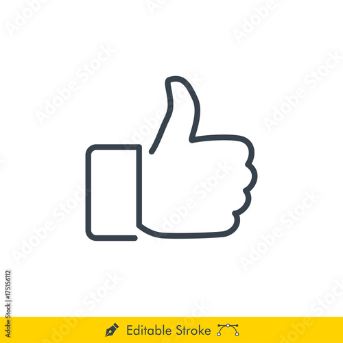 Thumb Up (Like) Icon / Vector - In Line / Stroke Design with Editable Stroke