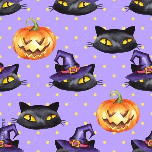 Cotton fabric Halloween watercolor seamless pattern 9. Black cat, pumpkin, witch hat