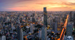 Aerial view panorama of Bangkok City in morning twilight