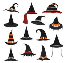 Set Of Different Witch Hats On...