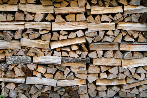 Poster Brandhout textuur stacking fire wood