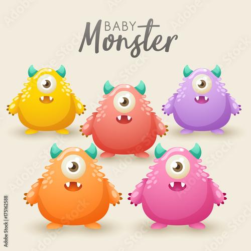 Foto op Canvas Schepselen Colorful Cute Monsters Set : Vector Illustration