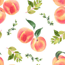 Peaches Watercolor Seamless Pa...