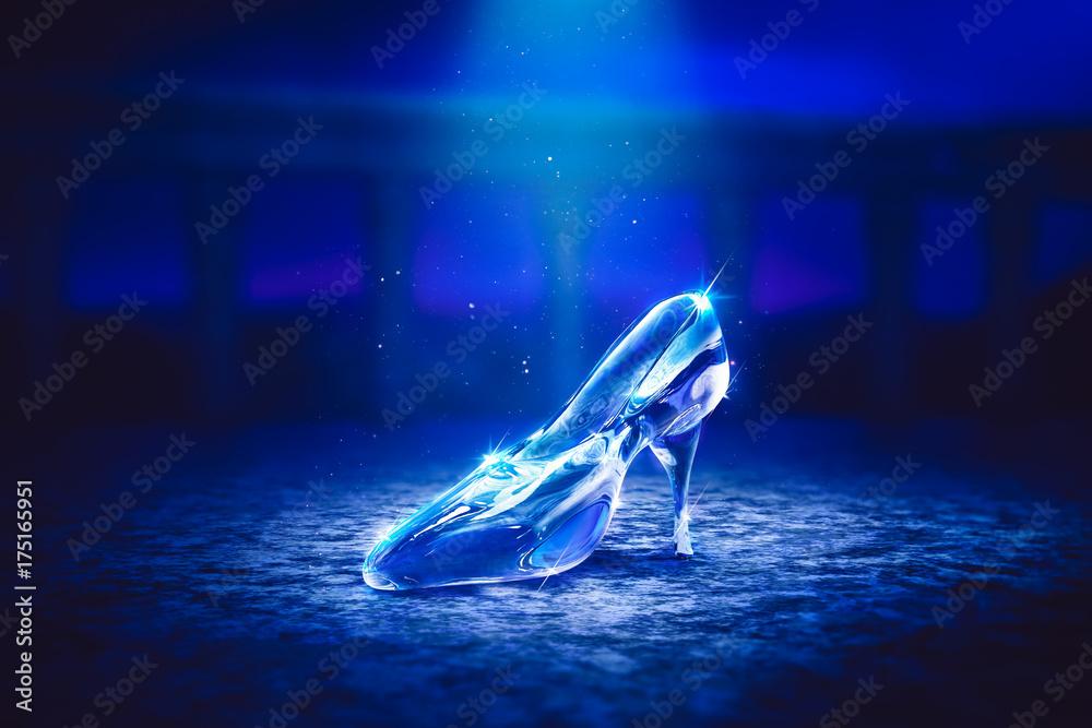 Fototapety, obrazy: 3D image of Cinderella's glass slipper on the floor