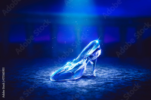 Fotografie, Obraz 3D image of Cinderella's glass slipper on the floor