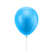 Light Blue Realistic Balloon. Light Blue Inflatable Ball Realistic Isolated White Background. Balloon In The Form Of A Vector Illustration