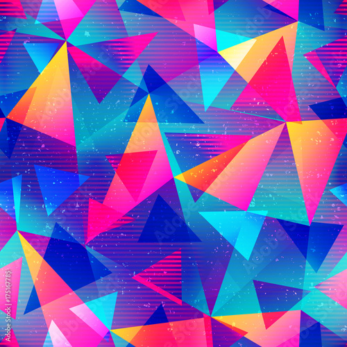 fototapeta na ścianę Rainbow color triangle seamless pattern