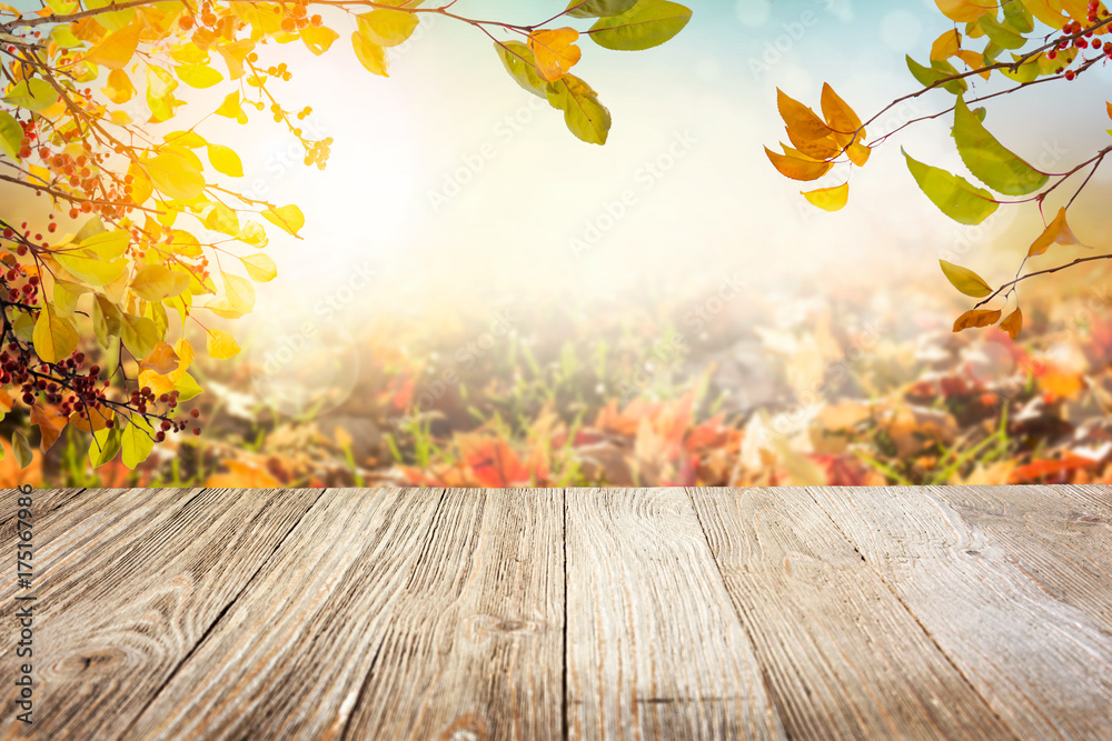 Fototapeta Wooden table with autumn leaves background