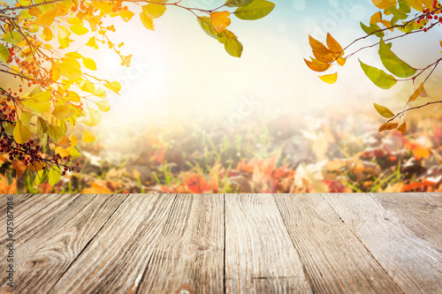 Fototapeta Wooden table with autumn leaves background obraz