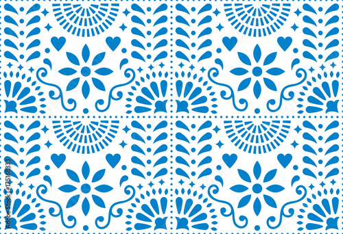 Fotografija  Folk art vector seamless pattern, Mexican blue design with flowers inspired by t
