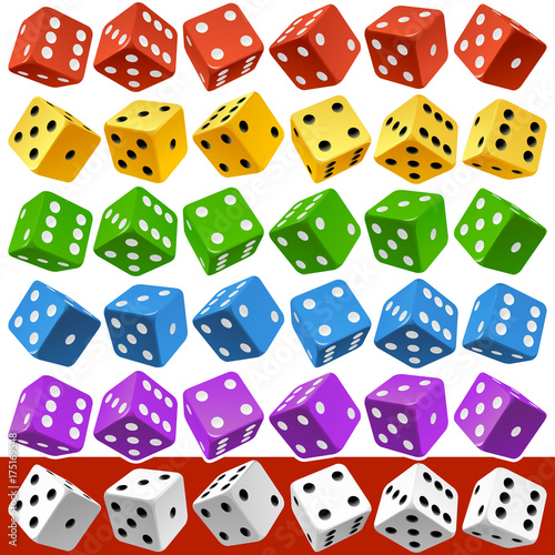 Vector Casino Dice Set of Authentic Icons Tableau sur Toile