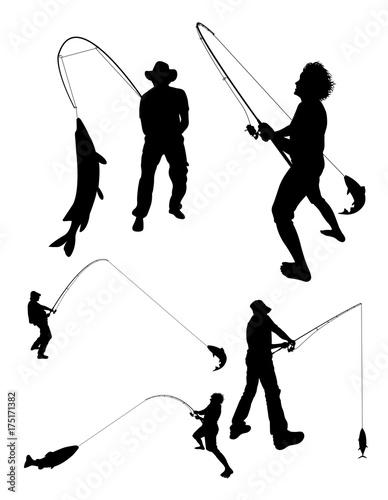 Fishing silhouette 02 Wallpaper Mural