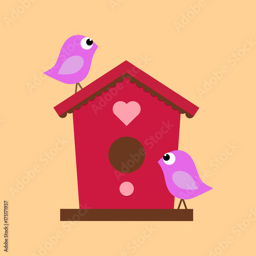 birdhouse with two birds Canvas Print