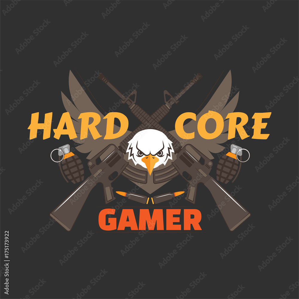 Photo  Hard core gamer logo with an eagle, wings, hand grenades, bullets and guns
