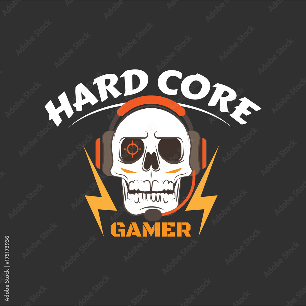 Hard core gamer logo with white skull, earphones, microphone, lightning and aiming in eye