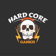 Hard core gamer logo with white skull, earphones, microphone, lightning and aiming in eye. Gaming profile avatar.