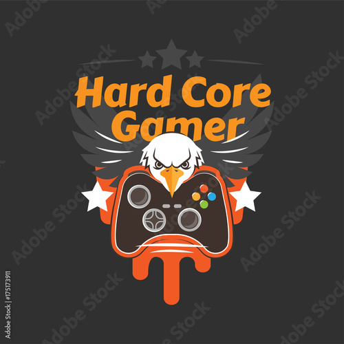 Fotografie, Obraz  Hard core gamer logo with an eagle, wings and game controller