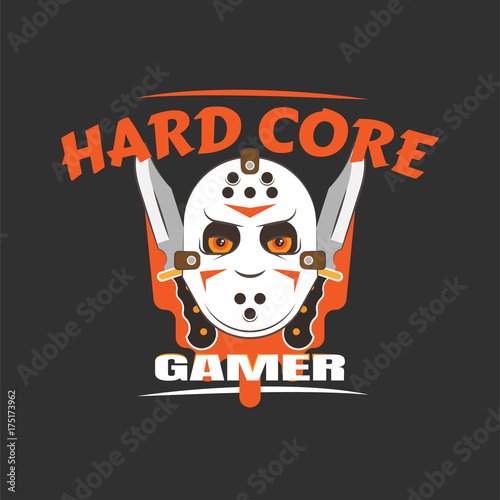 Obraz na plátně  Hard core gamer logo with a butcher mask and crossed dirks