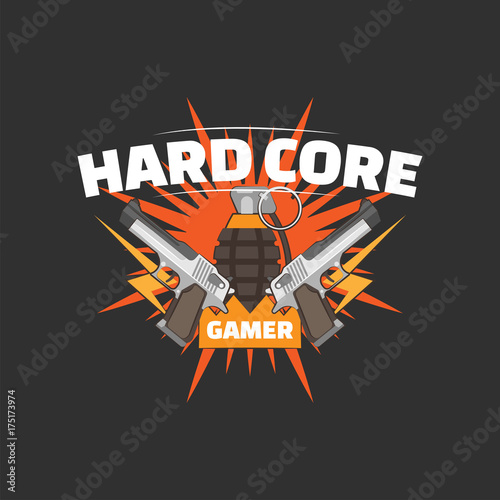 Obraz na plátně  Hard core gamer logo with two guns and a hand grenade